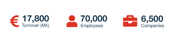 17,800 Turnover (M€), 70,000 Employees and 6,500 Companies